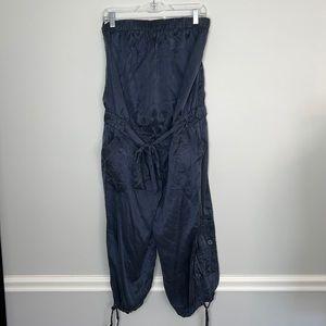 BEBE Silk Strapless Jumpsuit Romper Medium Blue
